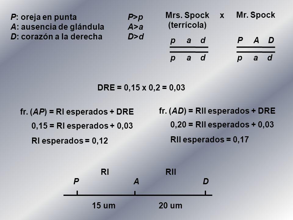 Mrs. Spock(terrícola) x. Mr. Spock. P: oreja en punta P>p. A: ausencia de glándula A>a. D: corazón a la derecha D>d.