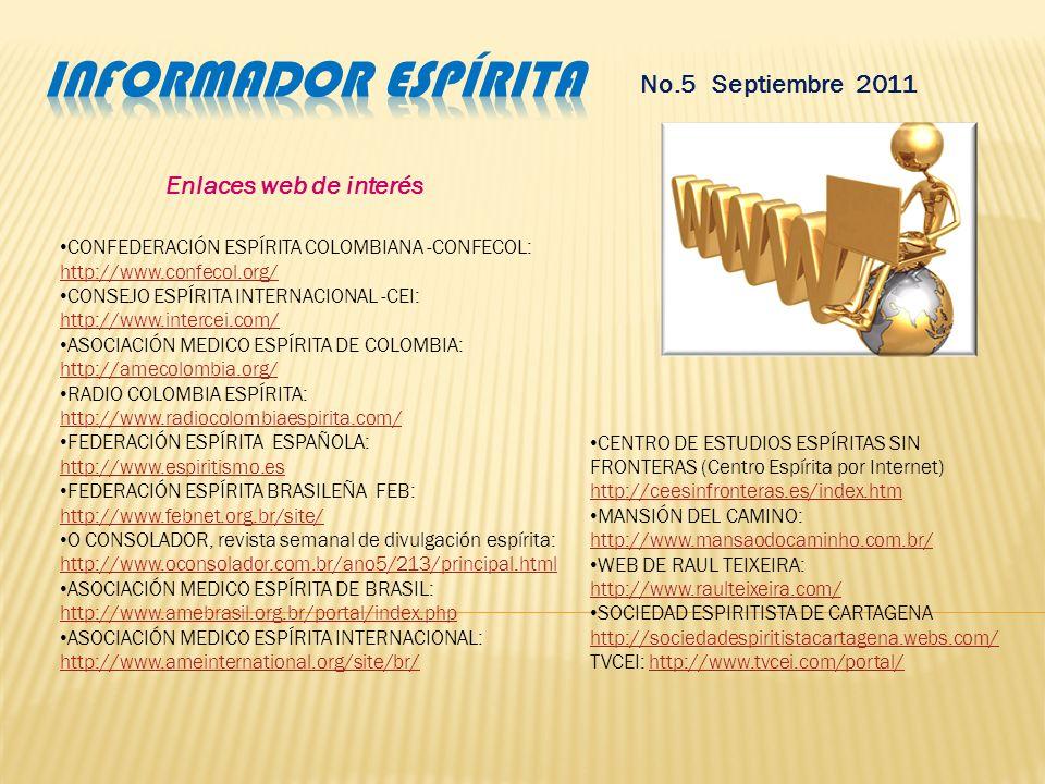Informador espírita No.5 Septiembre 2011 Enlaces web de interés