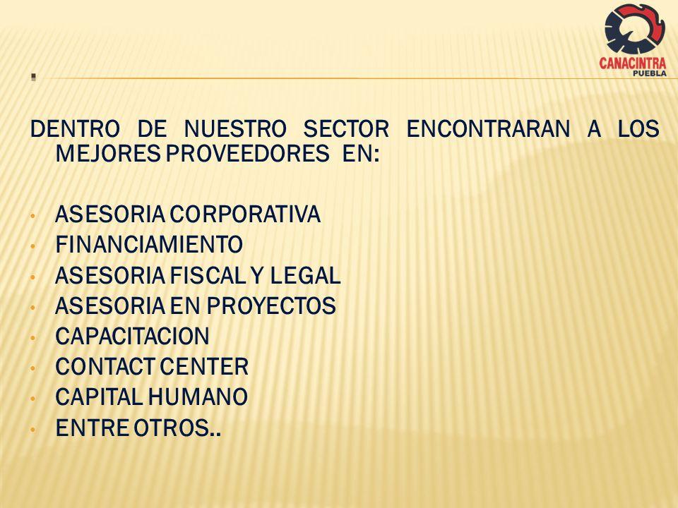 . DENTRO DE NUESTRO SECTOR ENCONTRARAN A LOS MEJORES PROVEEDORES EN: