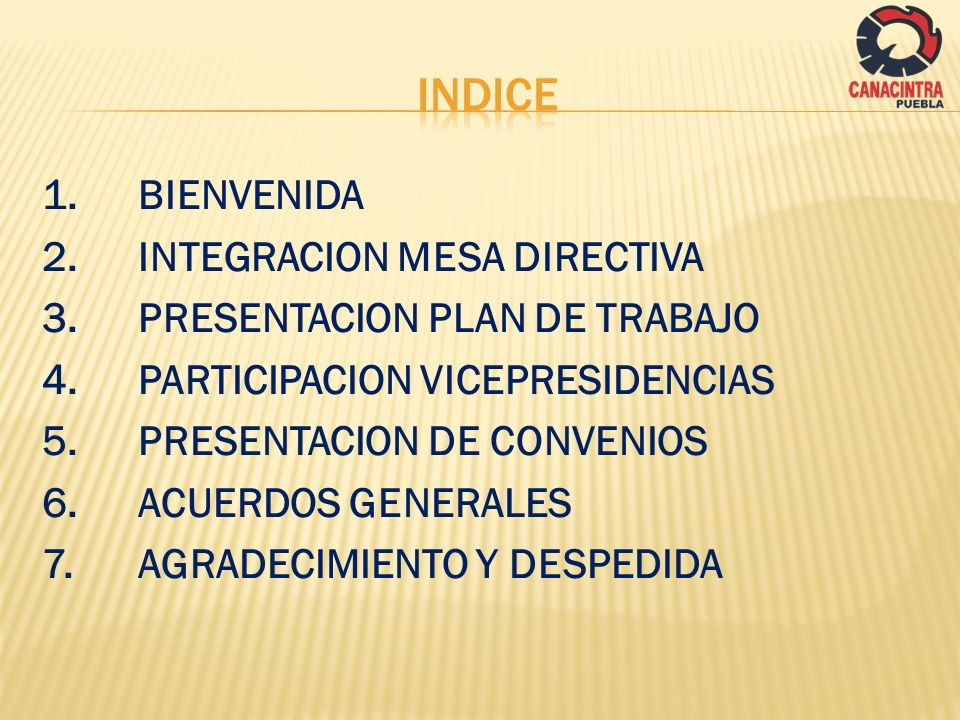 INDICE 1. BIENVENIDA 2. INTEGRACION MESA DIRECTIVA