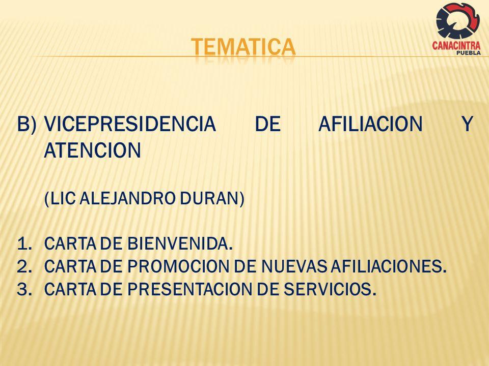 TEMATICA VICEPRESIDENCIA DE AFILIACION Y ATENCION