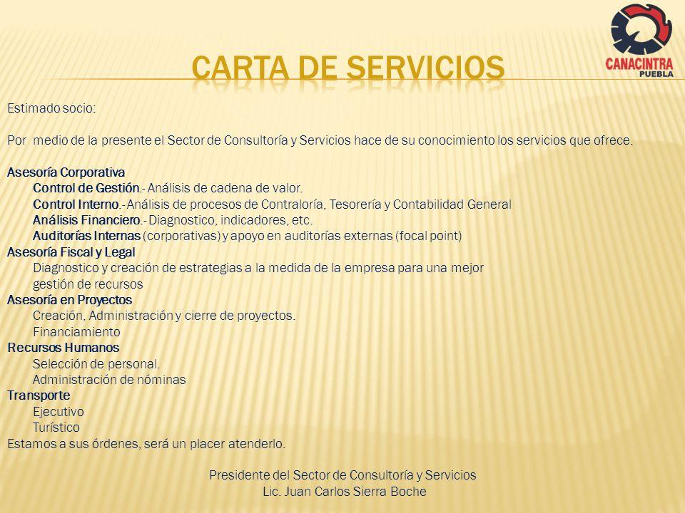 CARTA DE SERVICIOS Estimado socio: