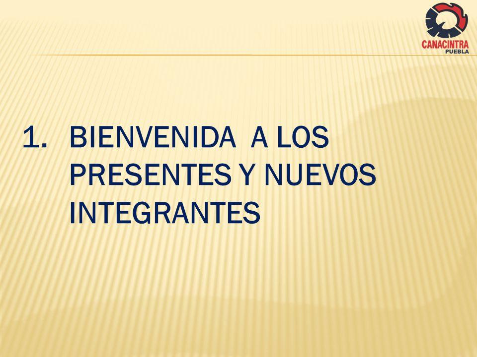 1. BIENVENIDA A LOS PRESENTES Y NUEVOS INTEGRANTES