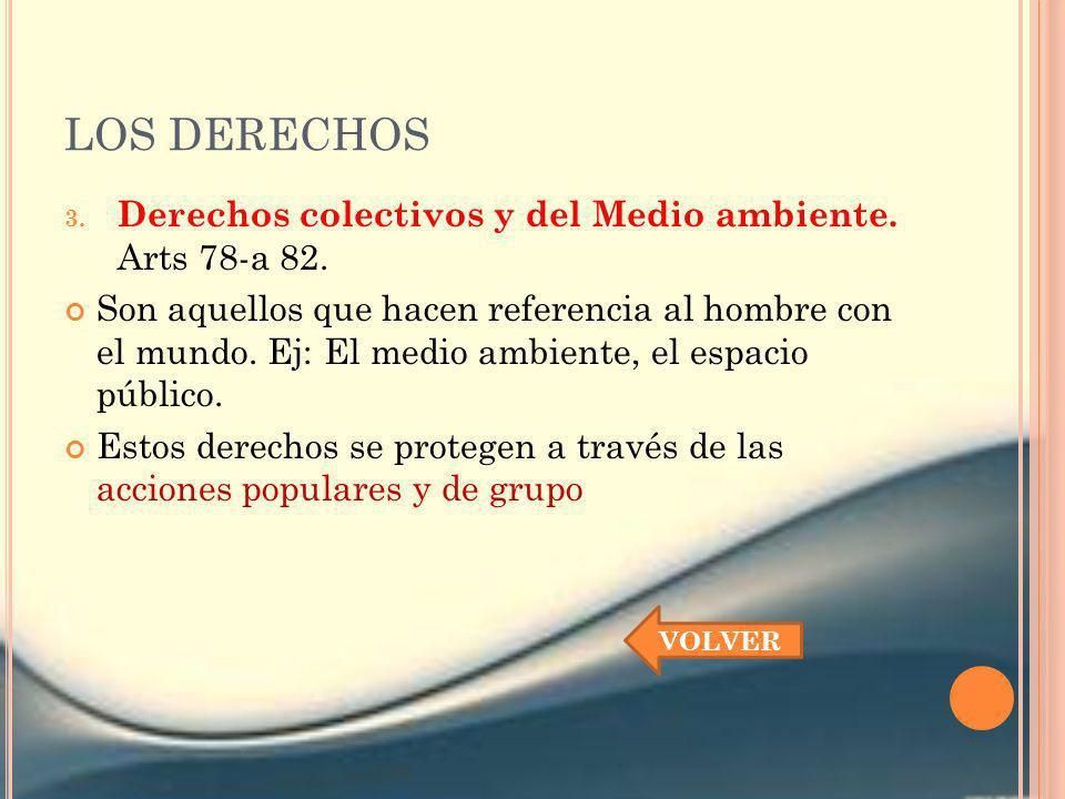 LOS DERECHOS Derechos colectivos y del Medio ambiente. Arts 78-a 82.