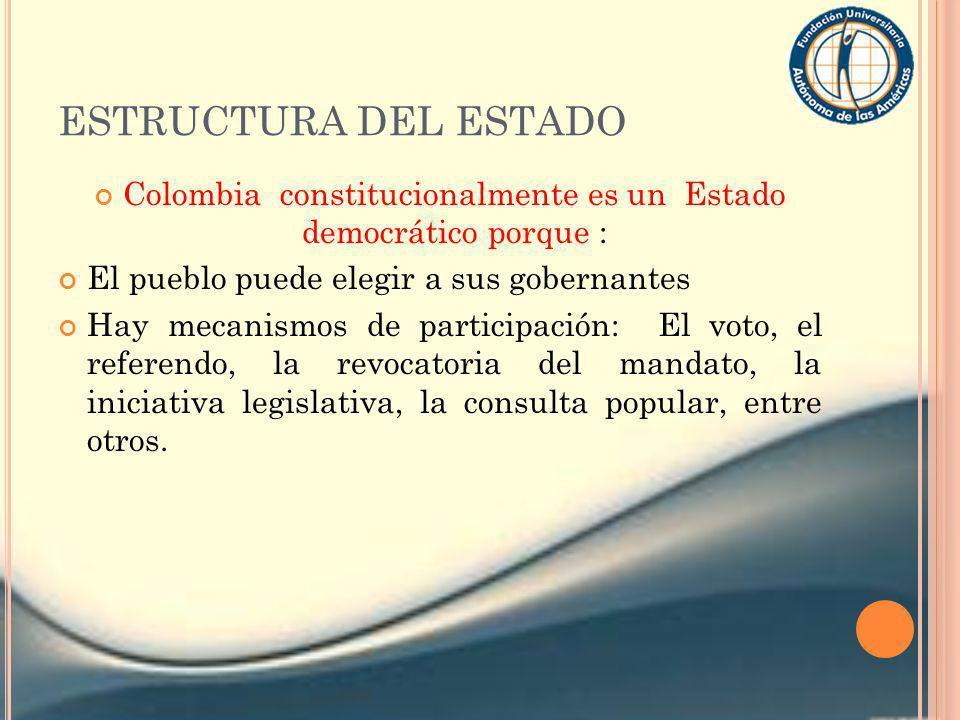 Colombia constitucionalmente es un Estado democrático porque :