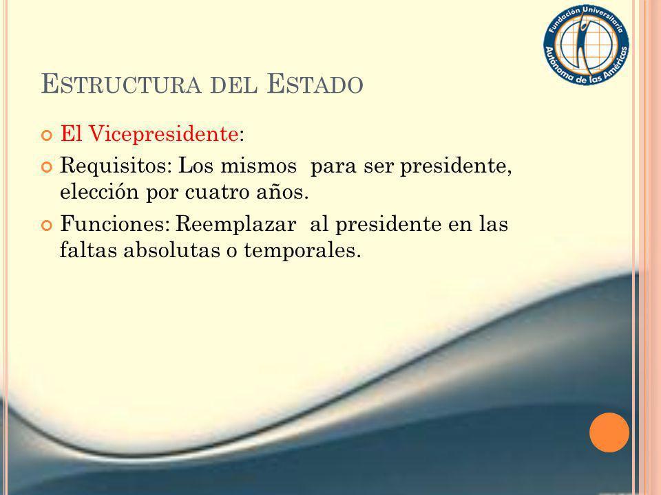 Estructura del Estado El Vicepresidente: