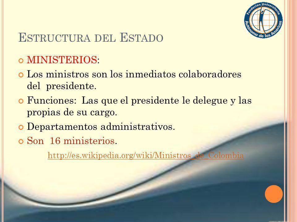 Estructura del Estado MINISTERIOS: