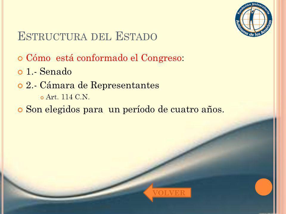Estructura del Estado Cómo está conformado el Congreso: 1.- Senado