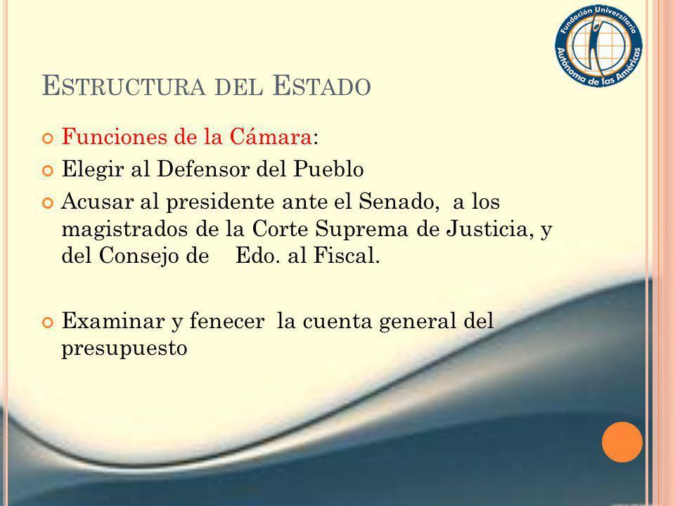 Estructura del Estado Funciones de la Cámara: