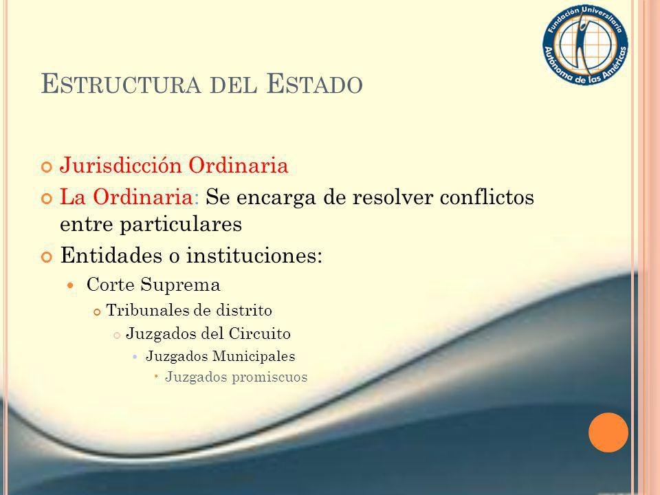 Estructura del Estado Jurisdicción Ordinaria
