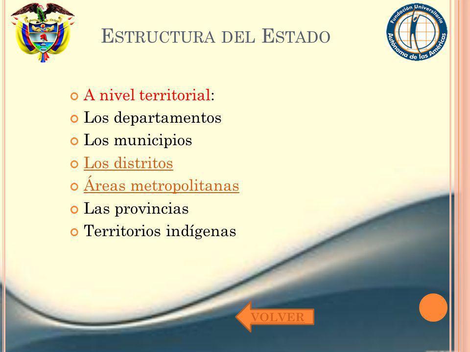 Estructura del Estado A nivel territorial: Los departamentos