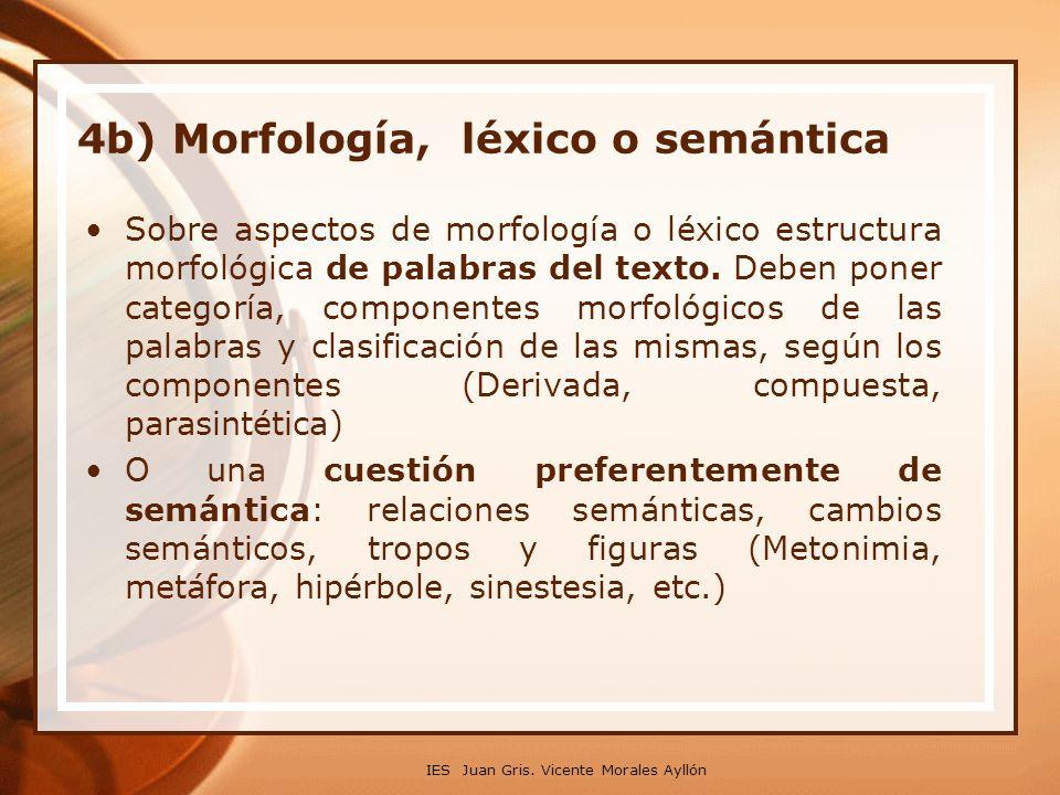 4b) Morfología, léxico o semántica