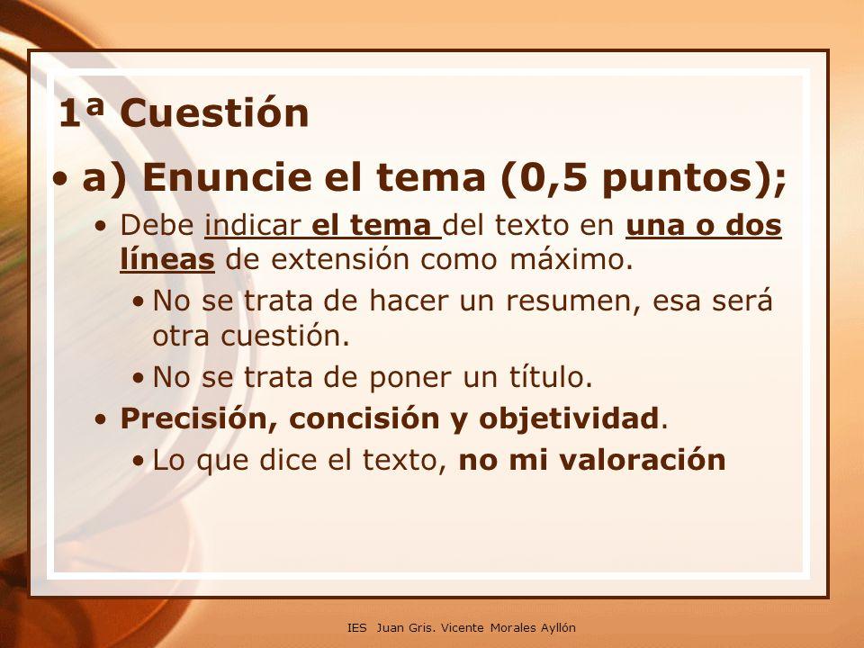 a) Enuncie el tema (0,5 puntos);