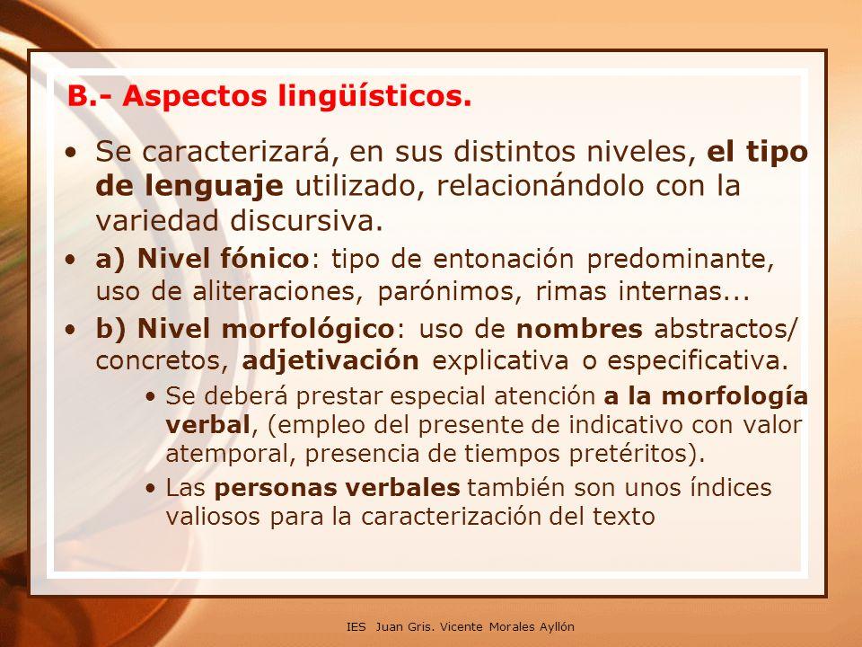 B.- Aspectos lingüísticos.