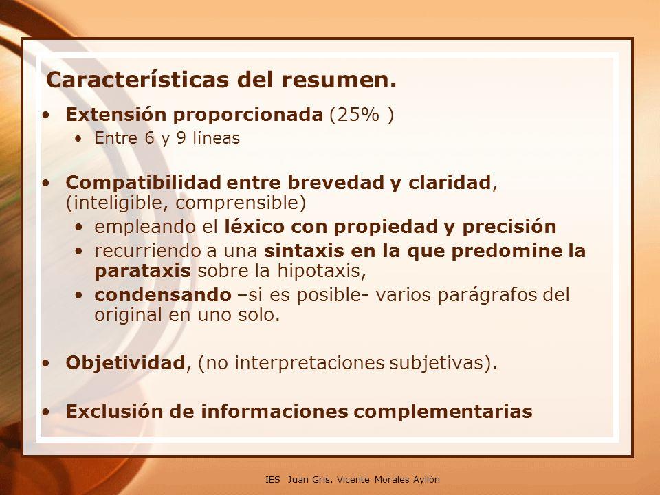 Características del resumen.