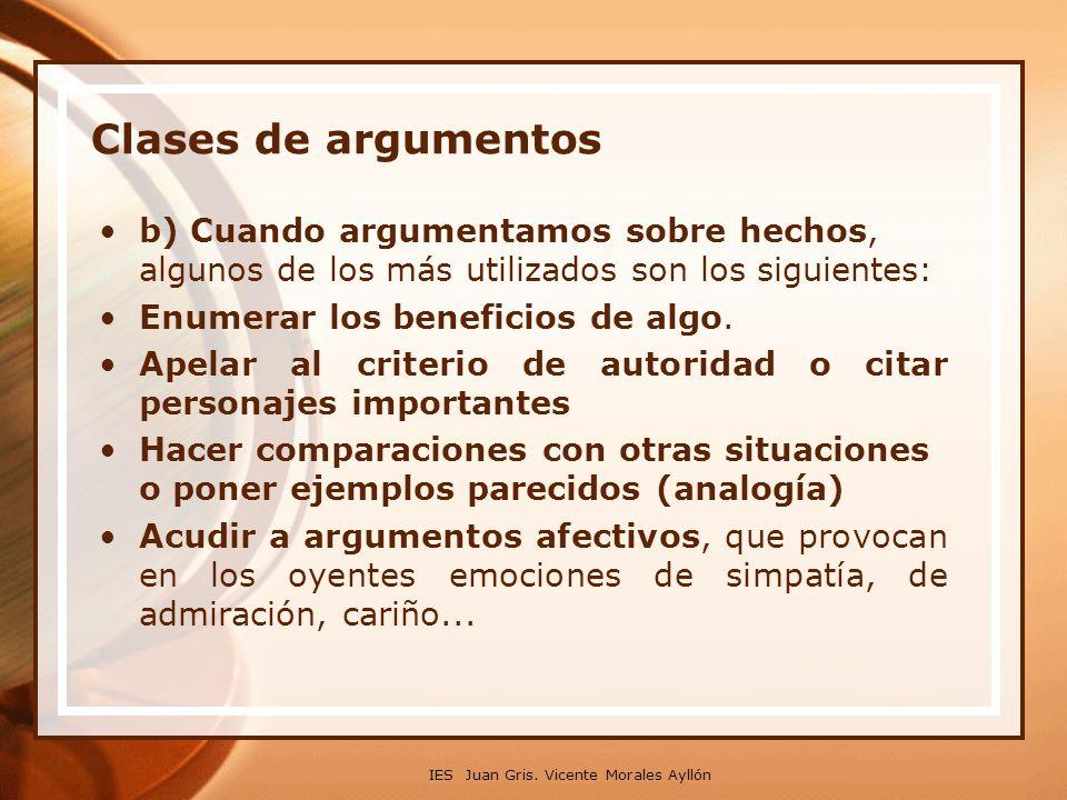 Clases de argumentos b) Cuando argumentamos sobre hechos, algunos de los más utilizados son los siguientes: