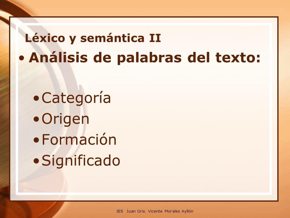 Categoría Origen Formación Significado Análisis de palabras del texto: