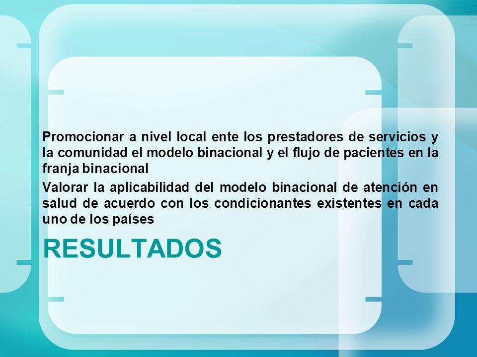 Promocionar a nivel local ente los prestadores de servicios y la comunidad el modelo binacional y el flujo de pacientes en la franja binacional
