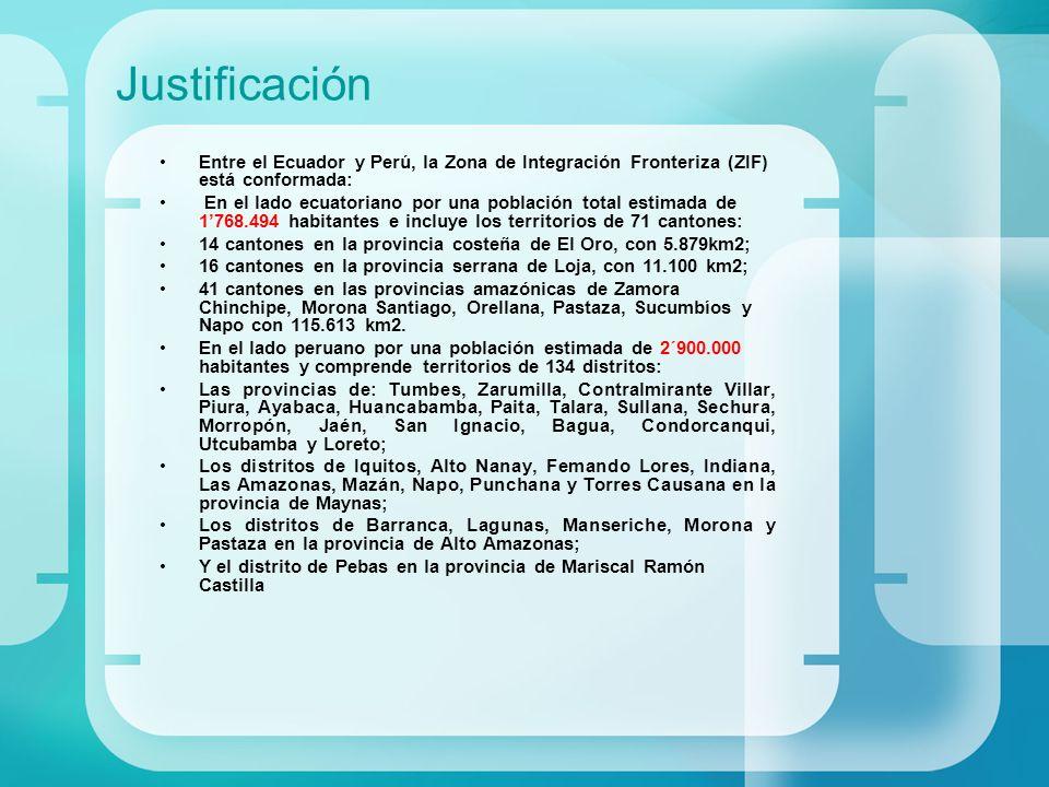 Justificación Entre el Ecuador y Perú, la Zona de Integración Fronteriza (ZIF) está conformada: