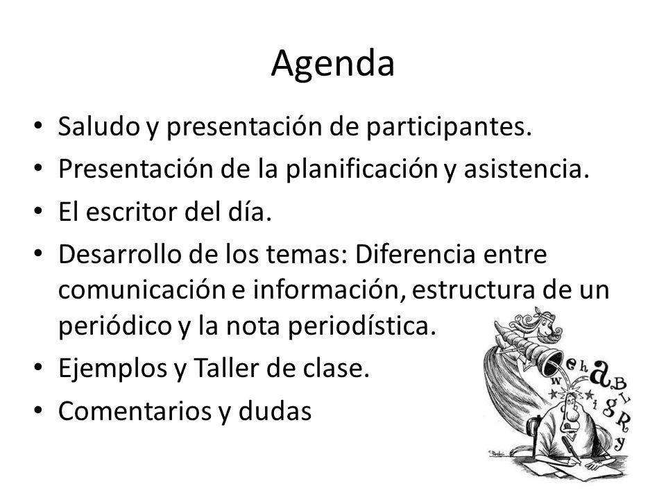 Agenda Saludo y presentación de participantes.