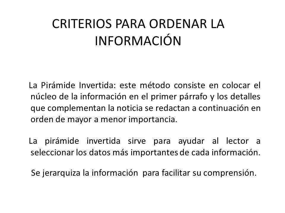Criterios para ordenar la información