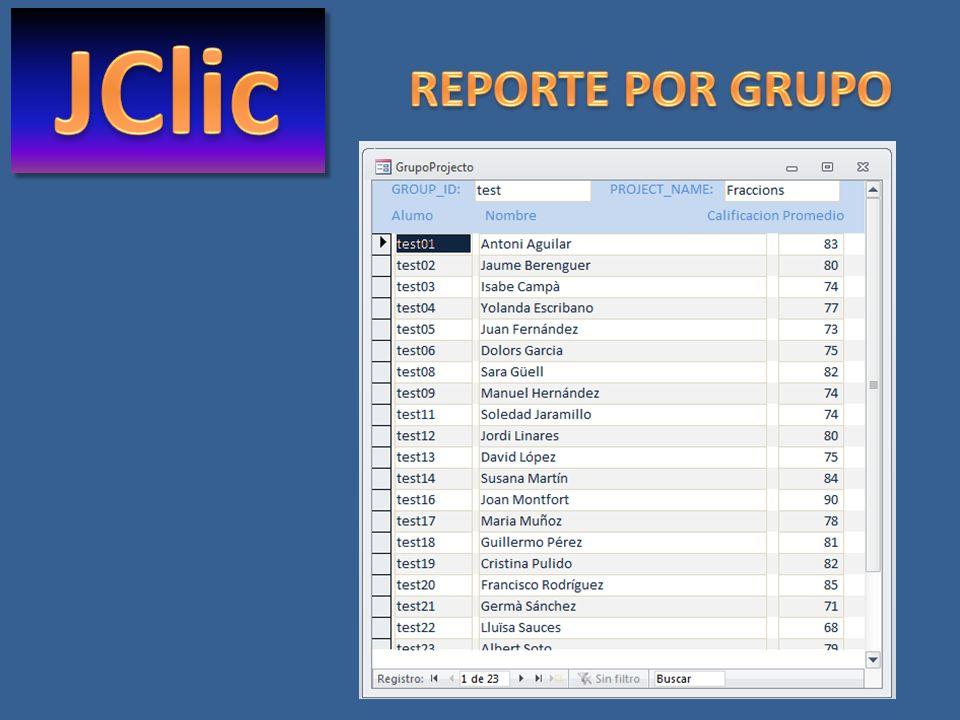 JClic REPORTE POR GRUPO