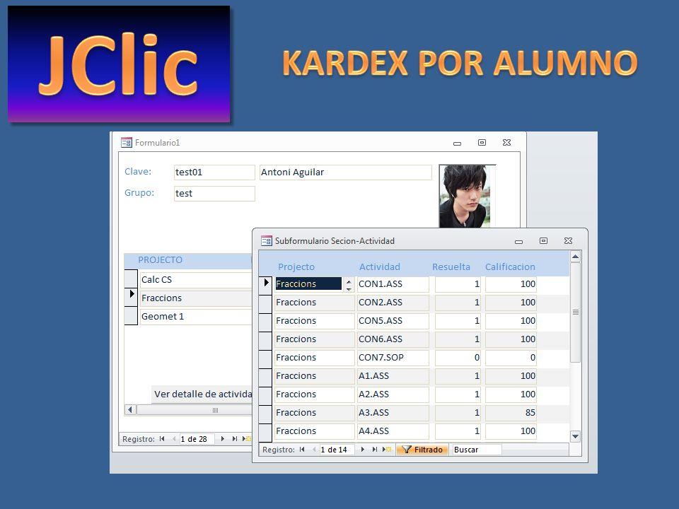 JClic KARDEX POR ALUMNO