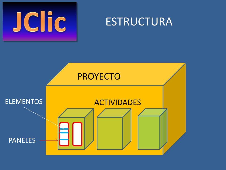 JClic ESTRUCTURA PROYECTO ELEMENTOS ACTIVIDADES PANELES