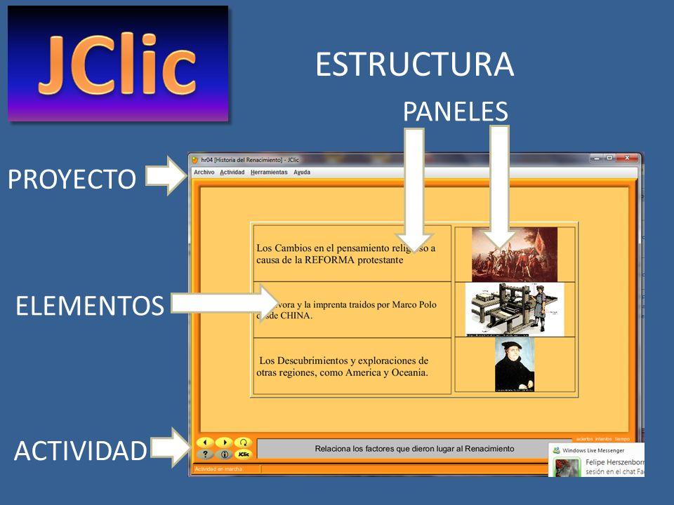 JClic ESTRUCTURA PANELES PROYECTO ELEMENTOS ACTIVIDAD