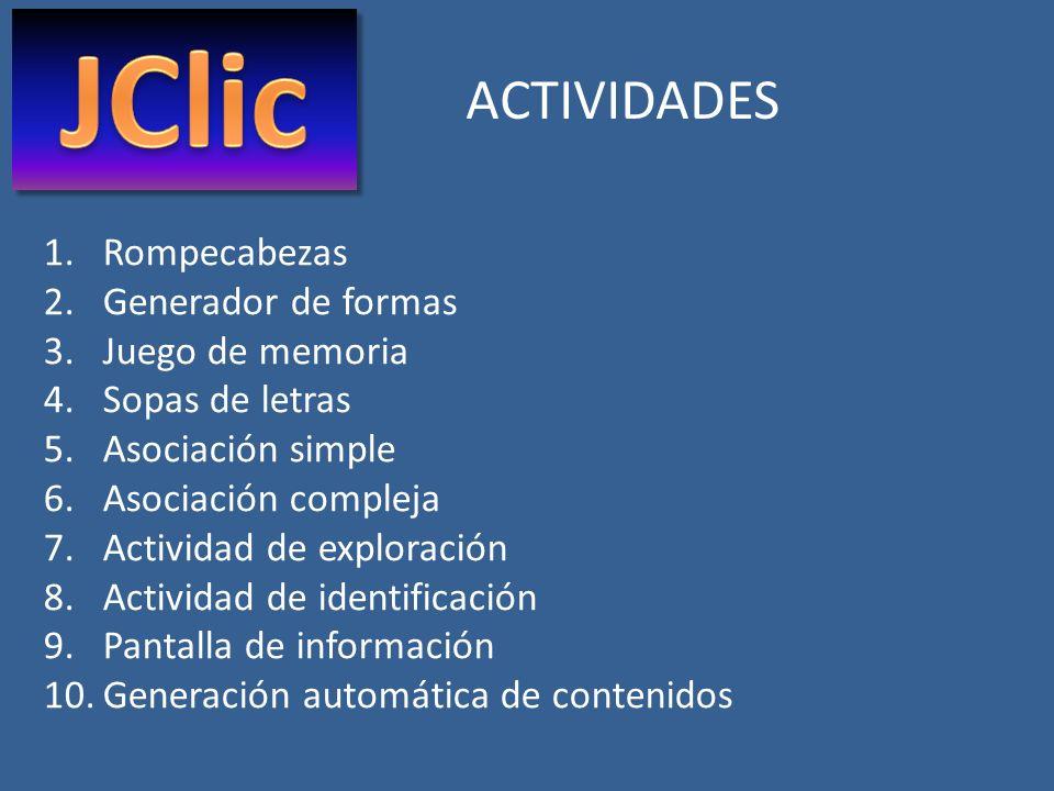 JClic ACTIVIDADES Rompecabezas Generador de formas Juego de memoria