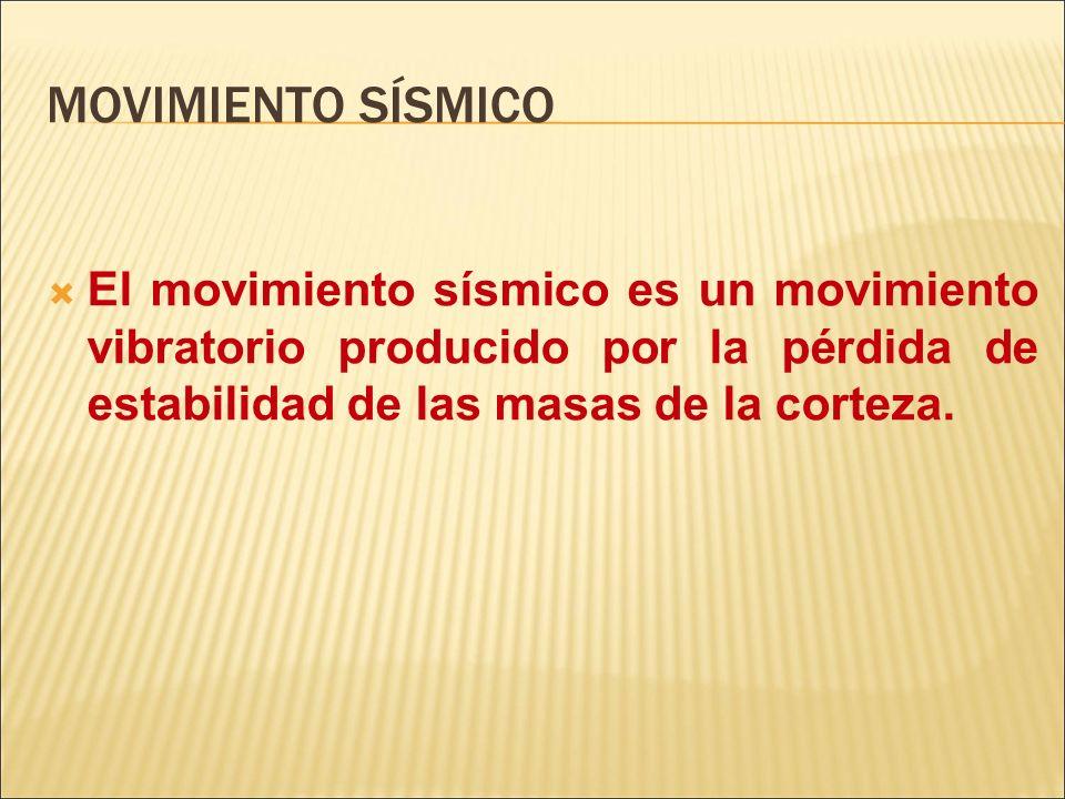 MOVIMIENTO SÍSMICOEl movimiento sísmico es un movimiento vibratorio producido por la pérdida de estabilidad de las masas de la corteza.