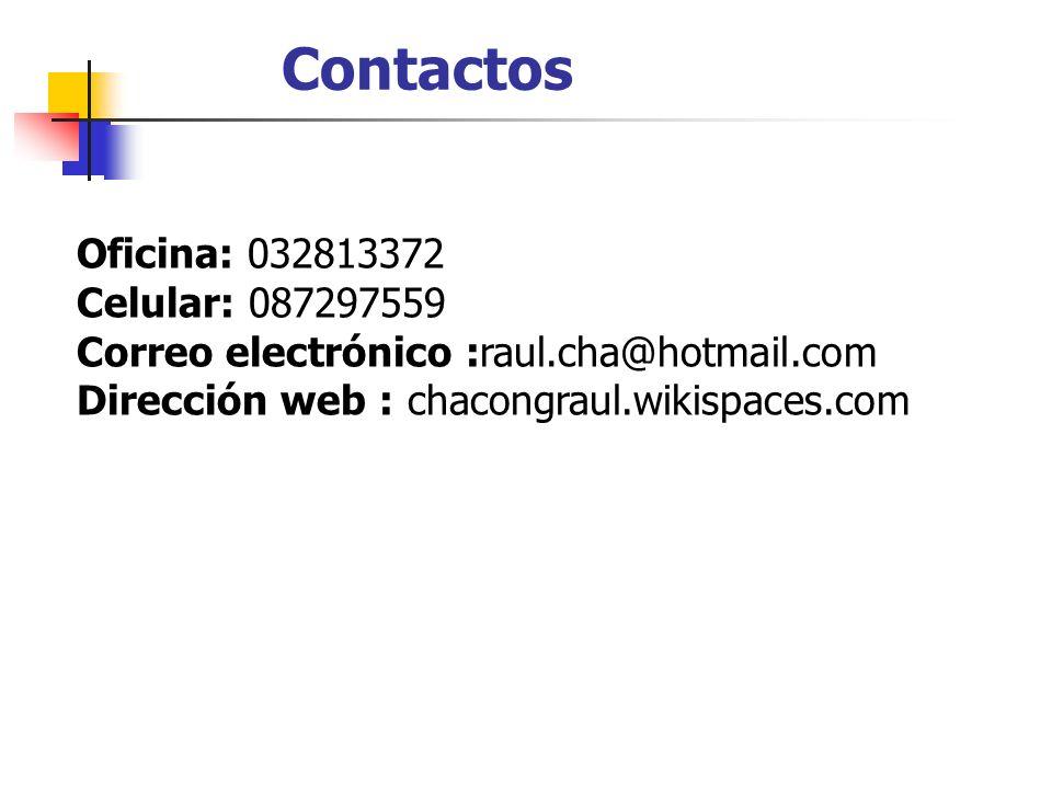 Contactos Oficina: 032813372 Celular: 087297559