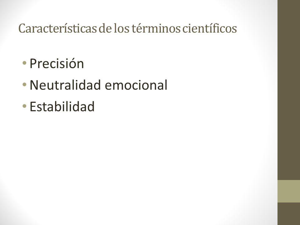Características de los términos científicos