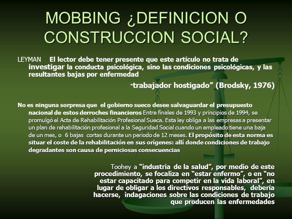 MOBBING ¿DEFINICION O CONSTRUCCION SOCIAL