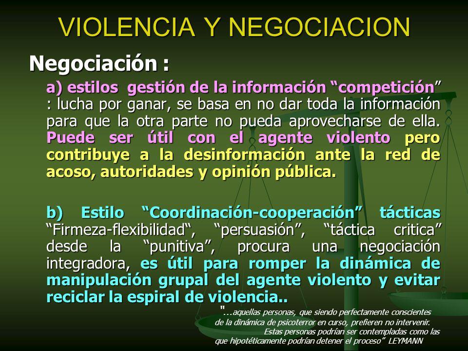 VIOLENCIA Y NEGOCIACION