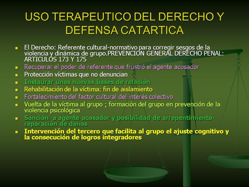 USO TERAPEUTICO DEL DERECHO Y DEFENSA CATARTICA