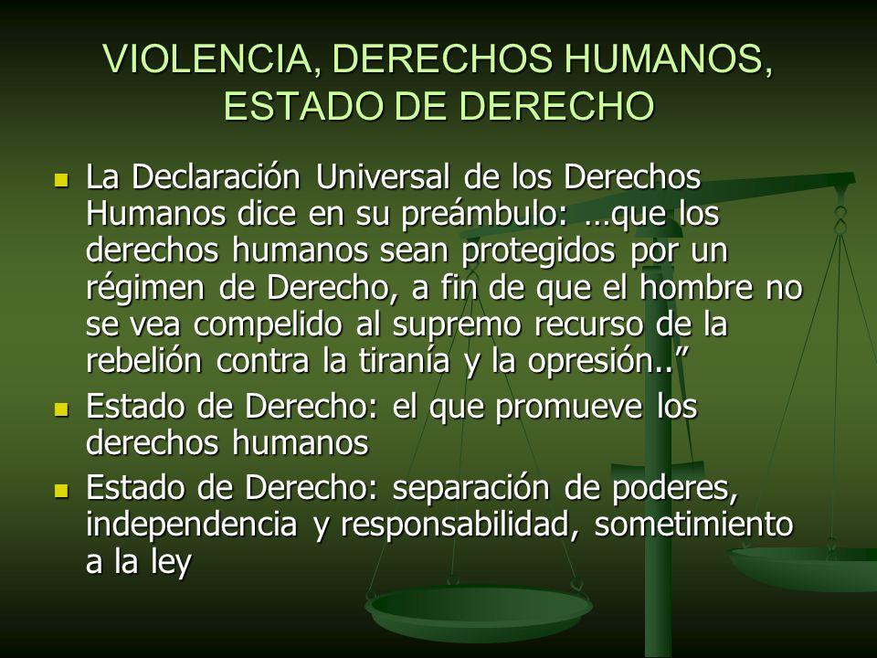 VIOLENCIA, DERECHOS HUMANOS, ESTADO DE DERECHO