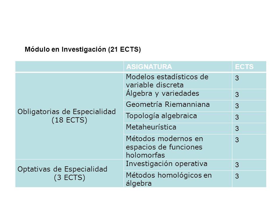 Módulo en Investigación (21 ECTS)