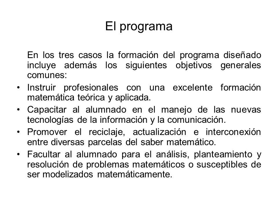 El programaEn los tres casos la formación del programa diseñado incluye además los siguientes objetivos generales comunes: