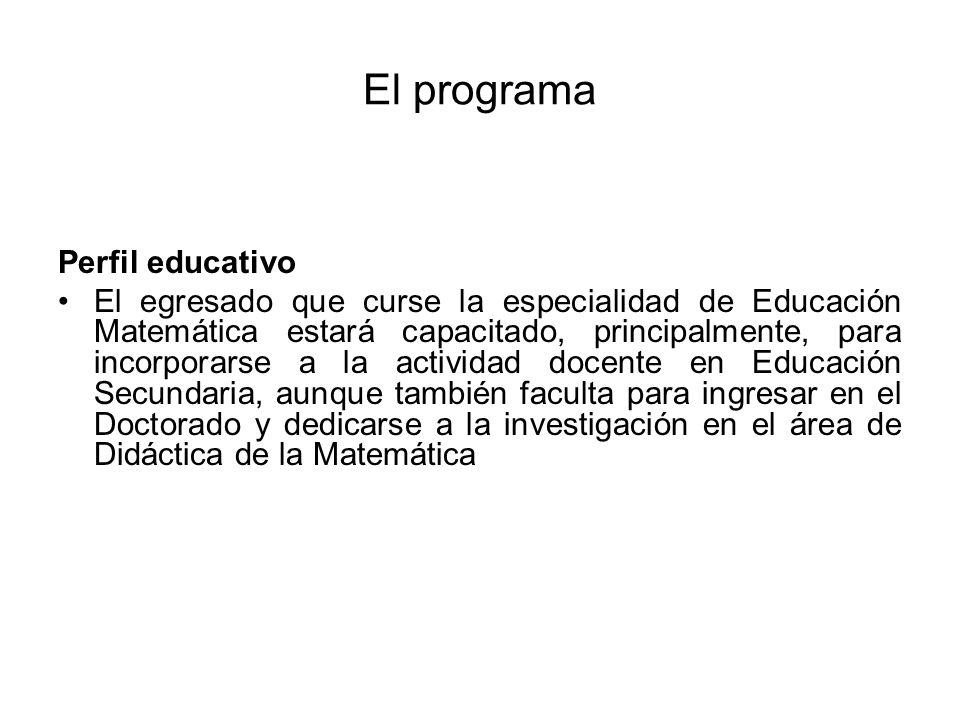 El programa Perfil educativo