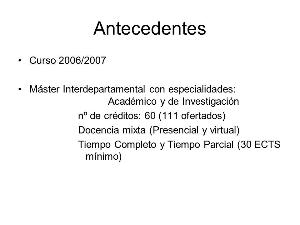 Antecedentes Curso 2006/2007. Máster Interdepartamental con especialidades: Académico y de Investigación.