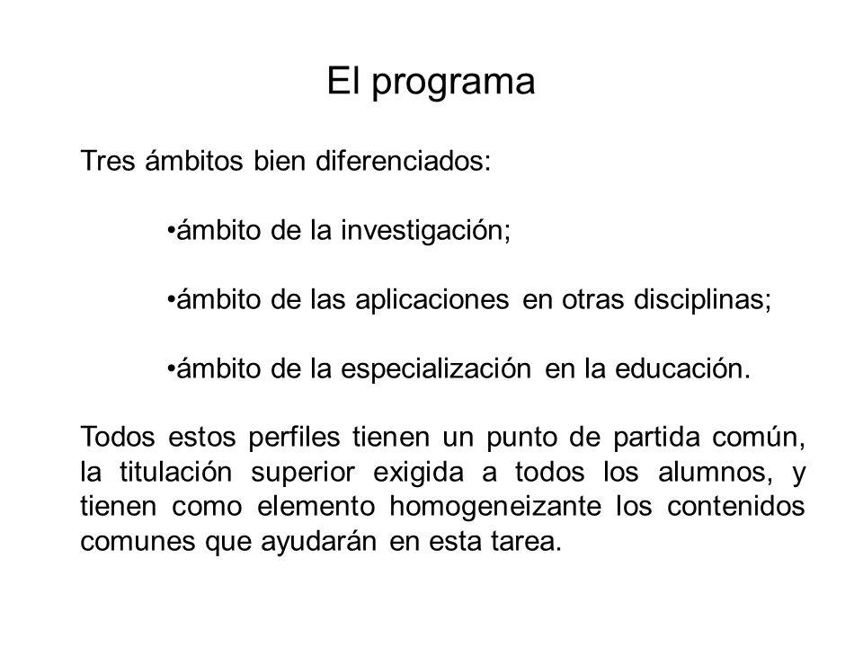 El programa Tres ámbitos bien diferenciados: