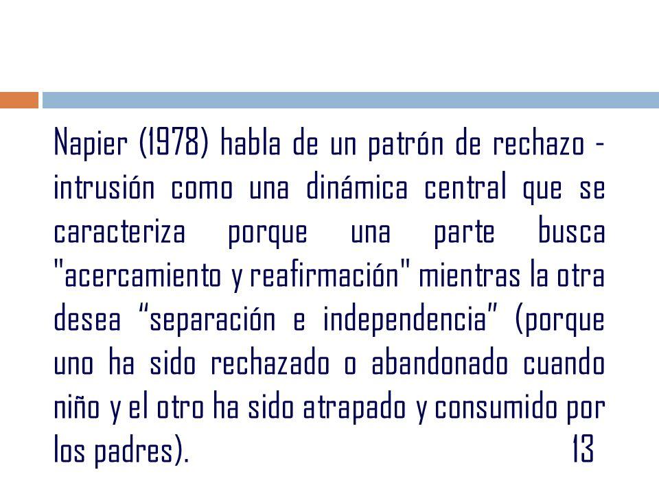 Napier (1978) habla de un patrón de rechazo - intrusión como una dinámica central que se caracteriza porque una parte busca acercamiento y reafirmación mientras la otra desea separación e independencia (porque uno ha sido rechazado o abandonado cuando niño y el otro ha sido atrapado y consumido por los padres).