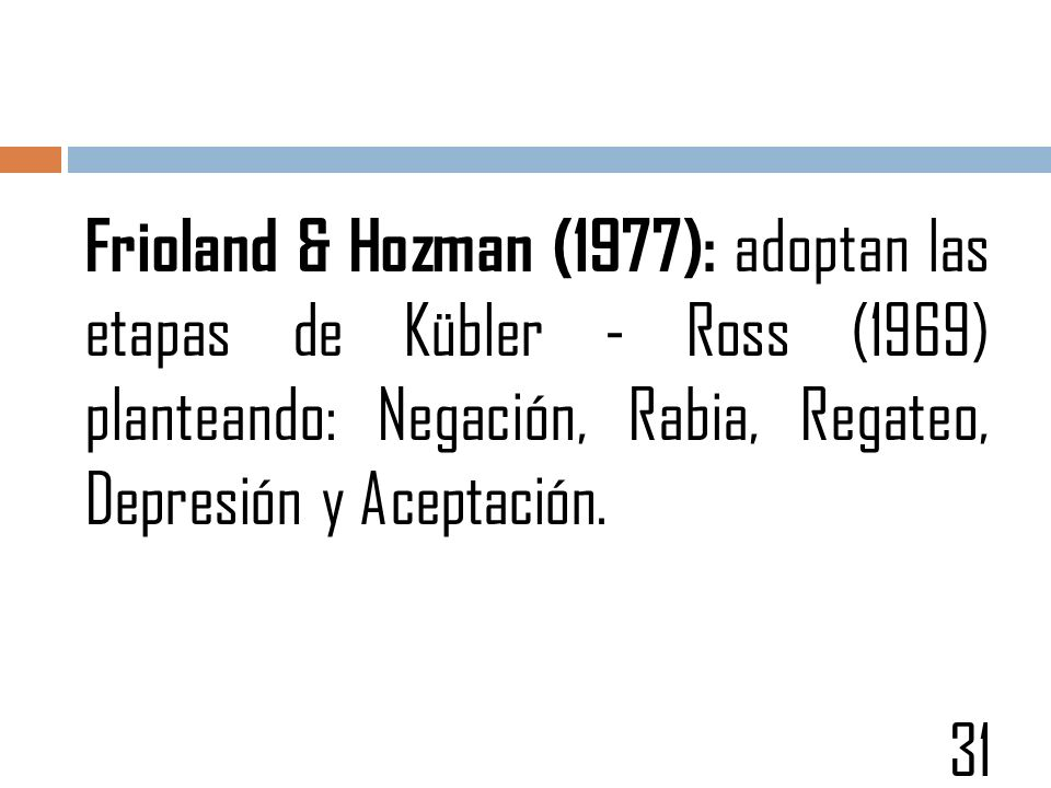 Frioland & Hozman (1977): adoptan las etapas de Kübler - Ross (1969) planteando: Negación, Rabia, Regateo, Depresión y Aceptación.