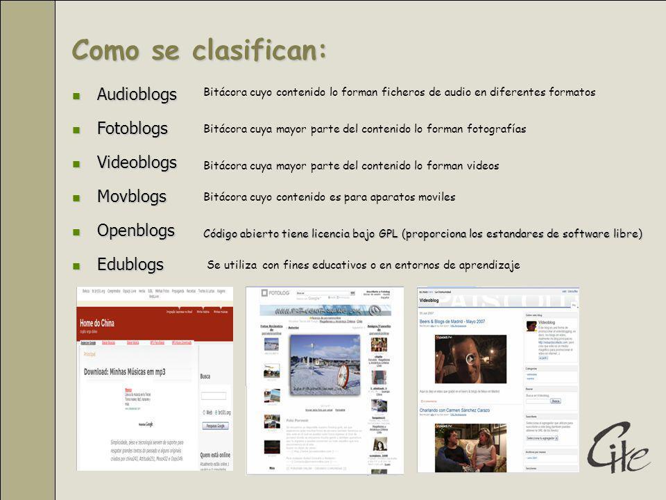 Como se clasifican: Audioblogs Fotoblogs Videoblogs Movblogs Openblogs