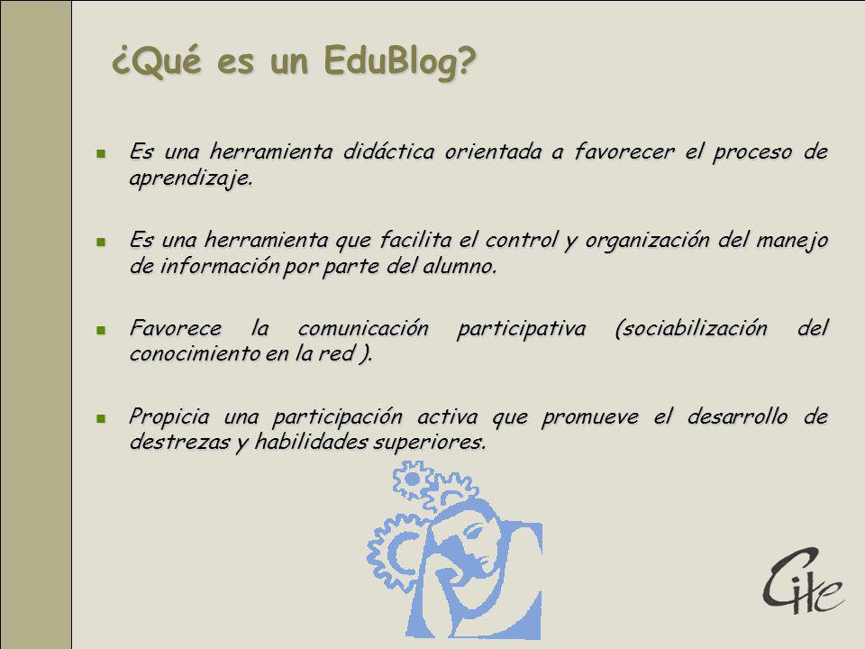 ¿Qué es un EduBlog Es una herramienta didáctica orientada a favorecer el proceso de aprendizaje.