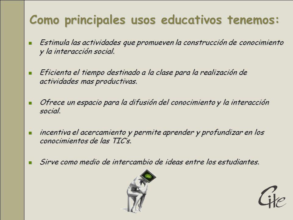 Como principales usos educativos tenemos: