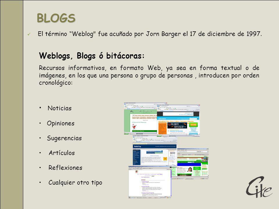 BLOGS Weblogs, Blogs ó bitácoras: Noticias