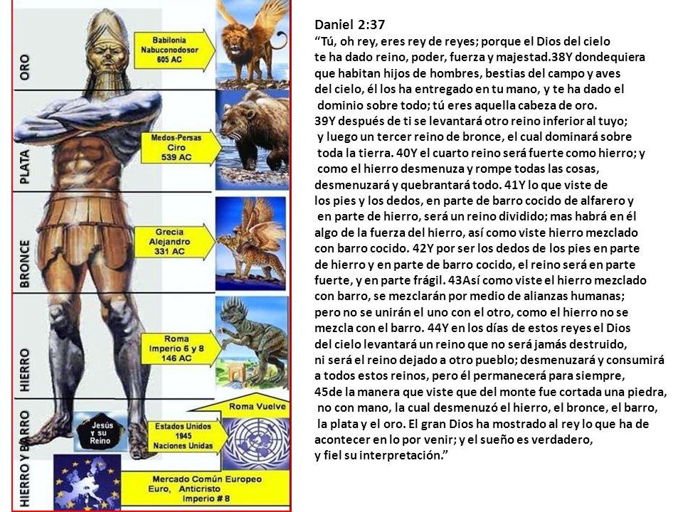 Daniel 2:37 Tú, oh rey, eres rey de reyes; porque el Dios del cielo