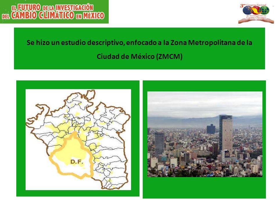 Se hizo un estudio descriptivo, enfocado a la Zona Metropolitana de la Ciudad de México (ZMCM)